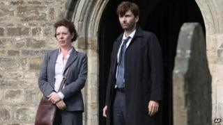 David Tennant as Alec Hardy, right, and Olivia Coleman as Ellie Miller, from the series Broadchurch