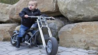 Toddler on a motorcycle