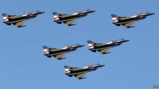 China's J-10 jets flying