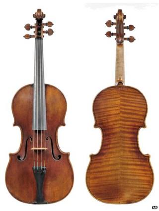 In this undated photo provided by the Milwaukee Symphony Orchestra is the 300-year-old Stradivarius violin that was stolen from MSO concertmaster Frank Almond