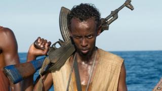 Barkhad Abdi in a scene from Captain Phillips