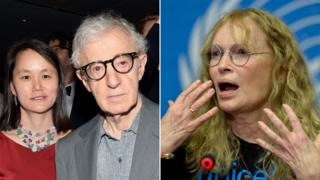 Left: Woody Allen and Soon Yi-Previn / Right: Mia Farrow