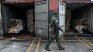 Jet engines in the Cuban containers