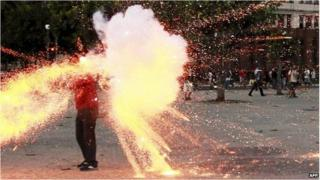Cameraman hit by explosive in Rio de Janeiro