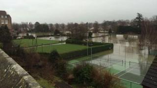 Flooded tennis courts