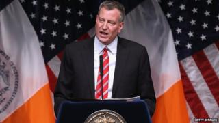 New York City Mayor Bill de Blasio gives the State of the City address at La Guardia Community College on 10 February 2014