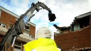 Demolition work at Hillington Square