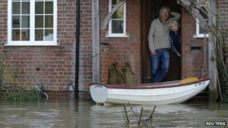 Flood waters at door of couple's home in Wraysbury
