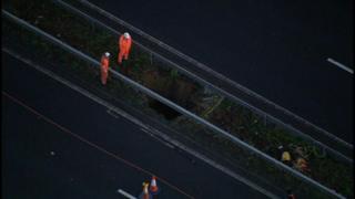 sinkhole in motorway