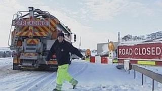 Snow gates on the A66