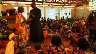 Father Xavier Fagba in St Peter's Parish Church in Boali, CAR