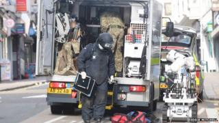 A bomb disposal unit outside an office in Queens Road, Brighton