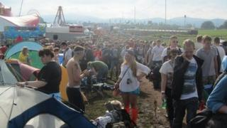 Festival-goers arrive at T in the Park