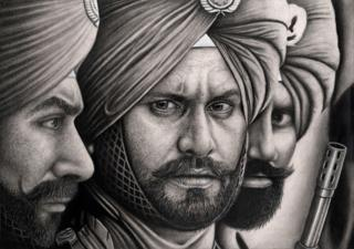 Singh Tattal's drawing of Sikh Soldiers