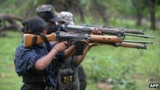 Maoist rebels train with guns in Chhattisgarh
