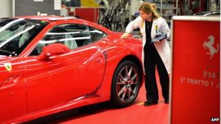 Ferrari's assembly line in Maranello, Italy