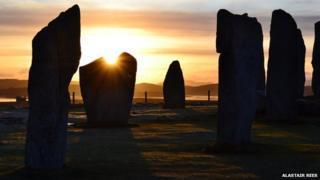 Sunrise at Callanish stones on the Isle of Lewis