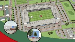 An illustration of the proposed campus and stadium, from the developers' brochure