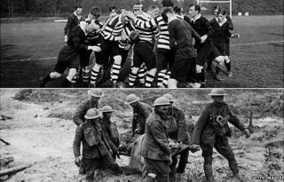 Pre war rugby match/stretcher party at Passchendaele