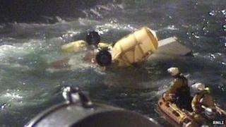 RNLI volunteers retrieved helicopter wreckage