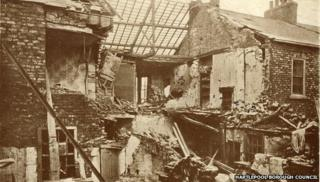 Postcard showing the destruction of housing in Hartlepool from the bombardment