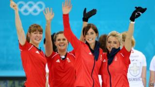 Great Britain's (left to right( Claire Hamilton, Vicki Adams, Eve Muirhead and Anna Sloan celebrate winning the Women's Bronze Medal match against Switzerland