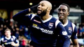 Yoann Arquin celebrates after his first-half opener gave Ross County the lead.