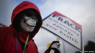 Protester at Barton Moss