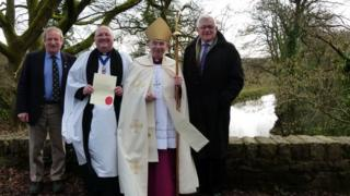Roger Francis (chairman of Monmouth, Brecon and Abergavenny Canals Trust), the Rev John Collier (chaplain of Monmouth, Brecon and Abergavenny Canals Trust), the Right Reverend Richard Pain (Bishop of Monmouth) and Lord German (President of Monmouth, Brecon and Abergavenny Canals Trust )