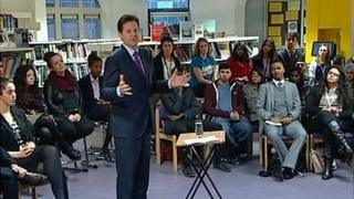 Nick Clegg addresses students in East London