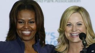 Michelle Obama and Amy Poehler