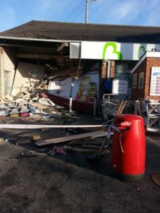 Considerable damage was caused during the robbery at the filling station on the Newcastle Road