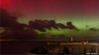 The Northern Lights over Peel on the west coast of the island