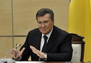 Viktor Yanukovych in Rostov-on-Don, Russia, 28 February
