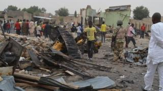 Site of a twin car bombing in Maiduguri, Nigeria, on 2 March, the day after the attack