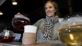 Emilie Holmes poses ate her tea bar