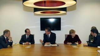 Polish Prime Minister Donald Tusk, French President Francois Hollande, British Prime Minister David Cameron, German Chancellor Angela Merkel and Italian Prime Minister Matteo Renzi