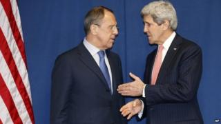 Secretary of State John Kerry talks with Russian Foreign Minister Sergey Lavrov during a meeting to discuss the Ukraine crisis 6 March 2014