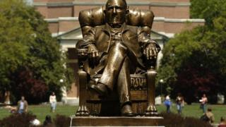 A statue on the campus of Duke University.