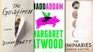 Book covers of The Goldfinch, Maddaddam and The Luminaries