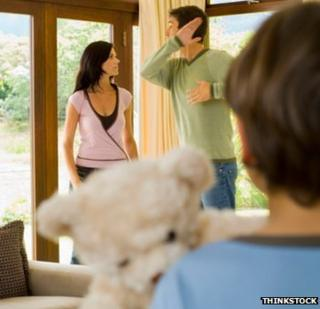 Parents arguing in front of their child (file photo)