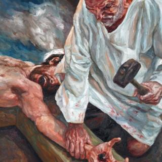 Christ is nailed to the cross
