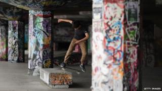 Skateboarder at Southbank skatepark