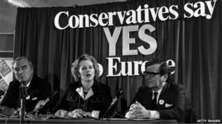 Margaret Thatcher, with William Whitelaw and Peter Kirk, at a referendum conference in June 1975
