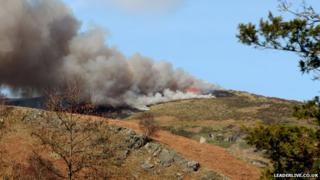 Grass fire at Llantysilio
