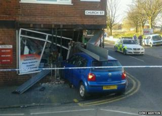 A car crashed into a shop in Church Street, Little Lever