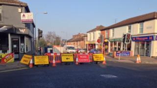 Closed Spring Road in Ipswich