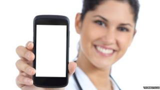 Doctor holding smartphone