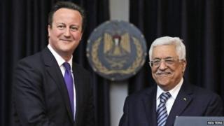 David Cameron and Mahmoud Abbas