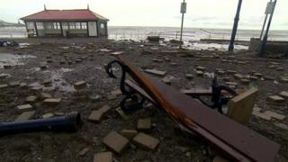 The damage to Aberystwyth's promenade